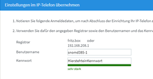 05 Fritz Box - Telefoniegeräte - Benutzer und Kennwort für Snom
