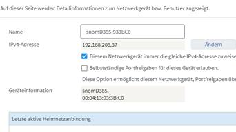 08 Fritz Box - Heimnetz - Netzwerk - Diesem Netzwerkgerät immer die gleiche IPv4-Adresse zuweisen.