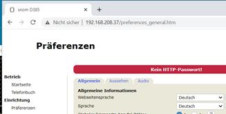 10 SNOM-D385 - Sprache auf Deutsch umstellen