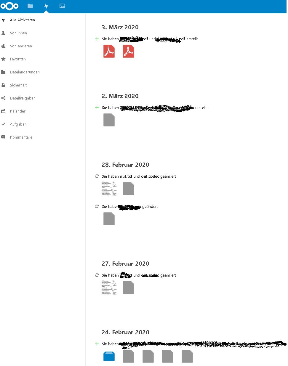 Nextcloud Aktivitäten Übersicht Server Provider