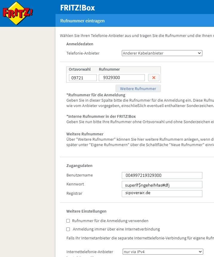 Screen Telefonie einrichten bei schnell-im-netz.de