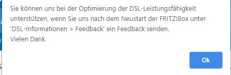 DSL Version umstellen Bestätigung und Feedback aktivieren